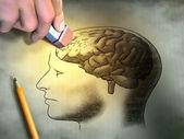 Qualcuno è cancellando un disegno del cervello umano. immagini concettuali relativi alla perdita di memoria e demenza. Illustrazione digitale
