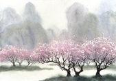 Paesaggio dellacquerello. Alberi in fiore delicato vicino al fiume in una giornata nebbiosa primavera fresca
