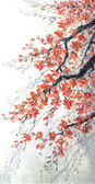 Watercolor painting. Branches of blossoms cherry