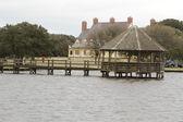Fából készült móló, a sós-mocsár: az észak-karolinai Outer Banks