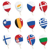 Collection of flag balloons isolated on white european set 2
