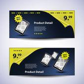 Blue Header or Banner Design Set for Product Sales - Illustration in Editable Vector Format