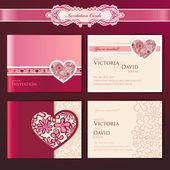 Set of wedding invitation cards vector templates