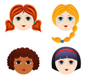 Set of girls faces 3 Cartoon vector illustration