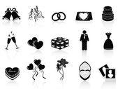 Black wedding icons set