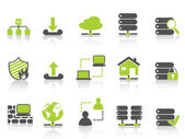 Isolated green network server hosting icons on white background