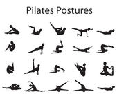 20 Pilates oder Yoga Haltungen Positionen illustration