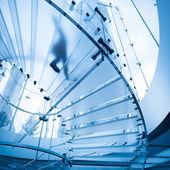 Futuristic glass staircase