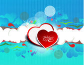 Illustration of abstract colorful heart-shaped clouds