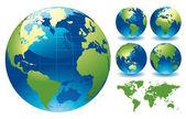 Editable vector illustration of world globe maps