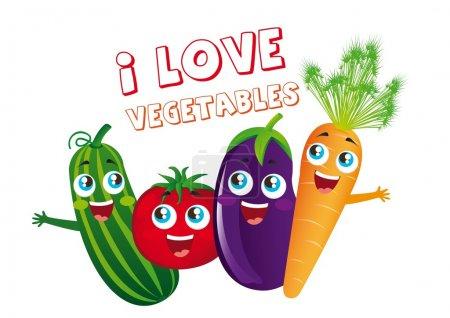 Постер, плакат: Vegetables cartoons, холст на подрамнике