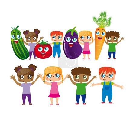 Постер, плакат: Childs with vegetables cartoons, холст на подрамнике