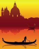 Dark silhouettes of Venice on an orange background