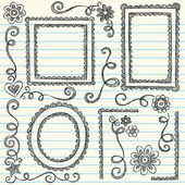 Hand-Drawn Scalloped Doodle Frames and Edge Borders- Back to School Style Sketchy Doodles Design Elements on Notebook Paper- Vector Illustration