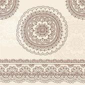 Henna mehndi mandala květiny a hranice doodle vektorová design