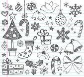 Christmas Sketchy Notebook Doodles- Vector Illustration Design Elements on Lined Sketchbook Paper Background