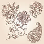 Henna Flowers and Paisley Doodles Vector Design Elements