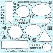 Sketchy Frames and Borders Hand-Drawn Notebook Doodles Set- Vector Illustration Design Elements on Lined Sketchbook Paper Background