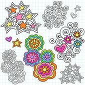 Hand-Drawn Psychedelic Groovy Notebook Doodle Design Elements Set on Pink Lined Sketchbook Paper Background- Vector Illustration