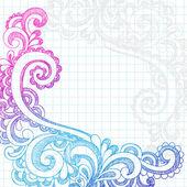 Paisley útržkovité čmáranice stránce hranice vektorové ilustrace