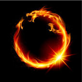Fire Dragon Abstract Illustration on black background for design