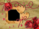 Vintage photo frames, red roses and heart