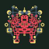 Big colorful robot Vector illustration of monster