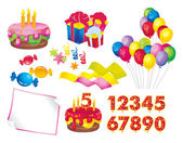 Celebration set: a cake with candles gift boxes balloons candy stars ribbons paper figures for dates