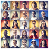 Portraits of happy and smiling people