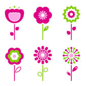 Collection of green and pink retro spring flowers - vector