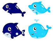 Sea life cartoon set isolated on white