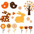 thumbnail of Retro spring easter design elements set ( vector )