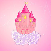 Vector illustration of a beautiful princess castle on clouds flying in the sky