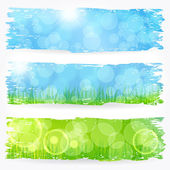 Vector set of beautiful painted spring and summer themed soft bokeh nature banner illustrations