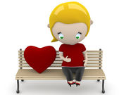 Love fruit! Social 3D characters: preagnant woman on a bench with heart sign. New constantly growing collection of expressive unique multiuse images. Concept for family illustration. Isolated.