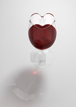 Heart shaped wine glass (love, valentine day series, 3d isolated characters)