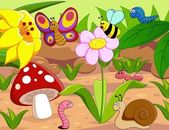 Insects family with snail and worm on the ground Funny cartoon and vector scene