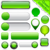 Blank green web buttons for website or app Vector eps10