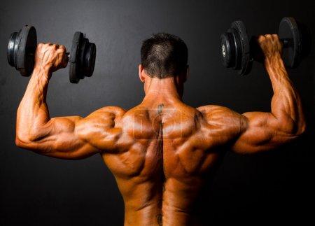 Bodybuilder training with dumbbells