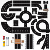 Collection of Isolated Connectable Highway Elements Constructions and Various Vehicles Vector Map Kit 1 Road Clip Art Series