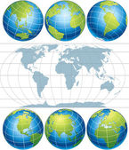 Classic Globes with World Map vector clip art