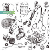 Sewing set: collection of highly detailed hand drawn sewing and knitting tools