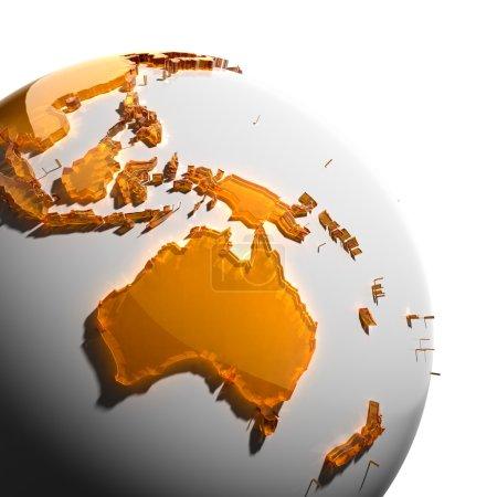 Постер, плакат: A fragment of the Earth with continents of orange glass, холст на подрамнике