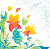 Beautiful flower background with butterfly and colibri