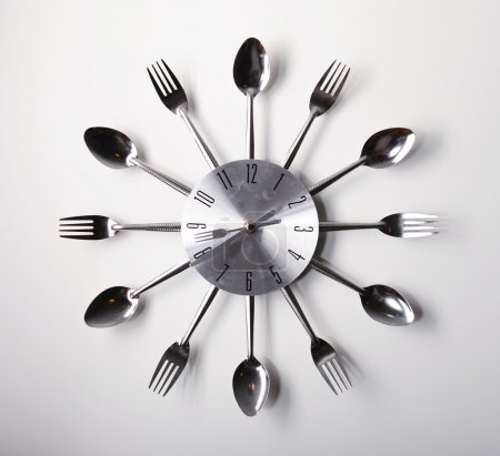 Clock design with spoons and forks