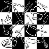Vector illustration of cooking and eating utensils and equipment on a bold checkerboard background