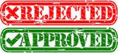Grunge odmítl a schváleny razítko, vektorové ilustrace