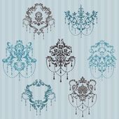 Set of ornamental DAMASK illustrations - for your design invitation greetings in vector