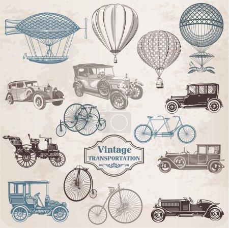 Vector Set: Vintage Transportation - collection of old-fashioned