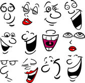 Cartone animato volti ed emozioni per progettazione umorismo o fumetti
